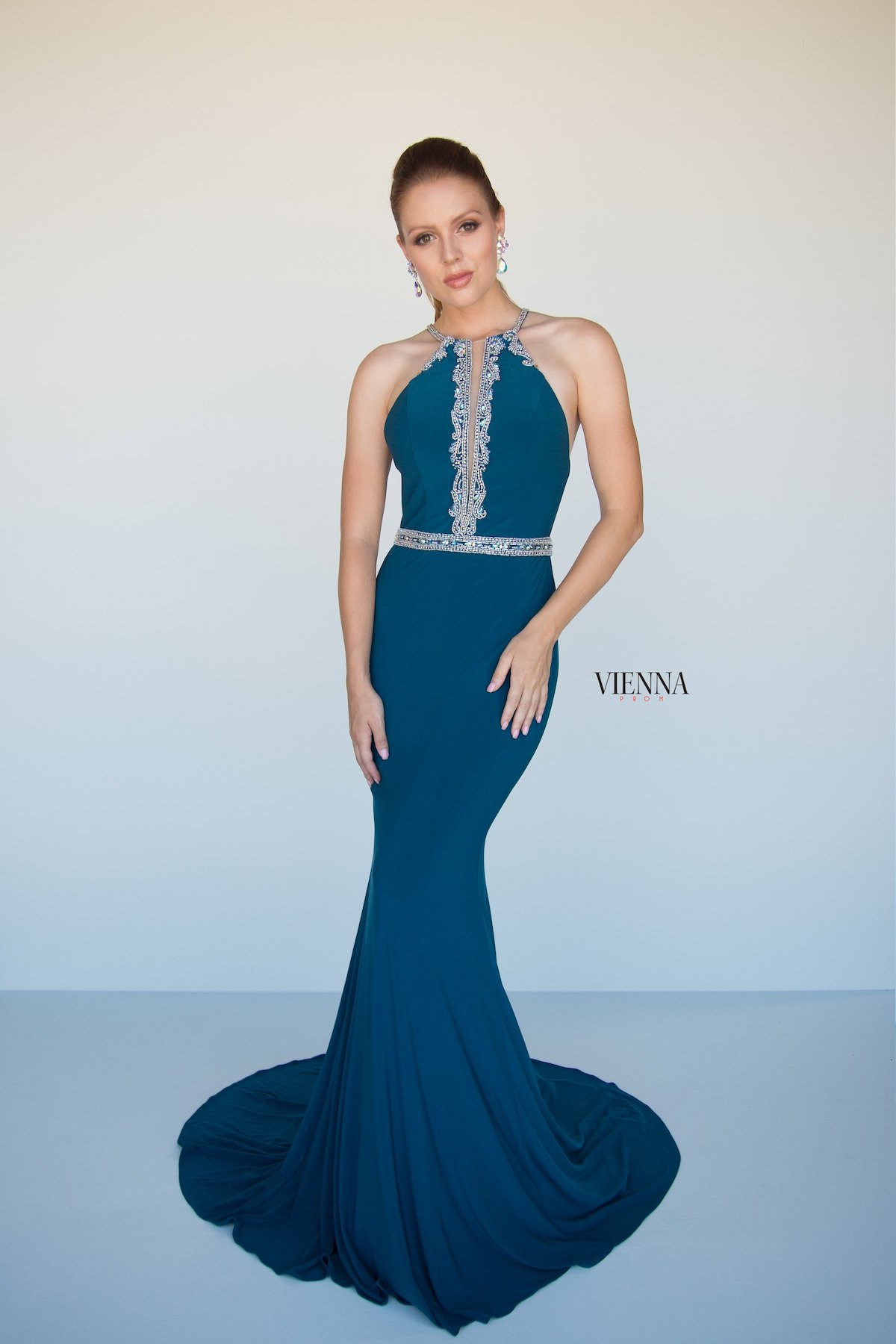 Style 8432 Vienna Black Size 00 Prom Halter Backless Tall Height Mermaid Dress on Queenly