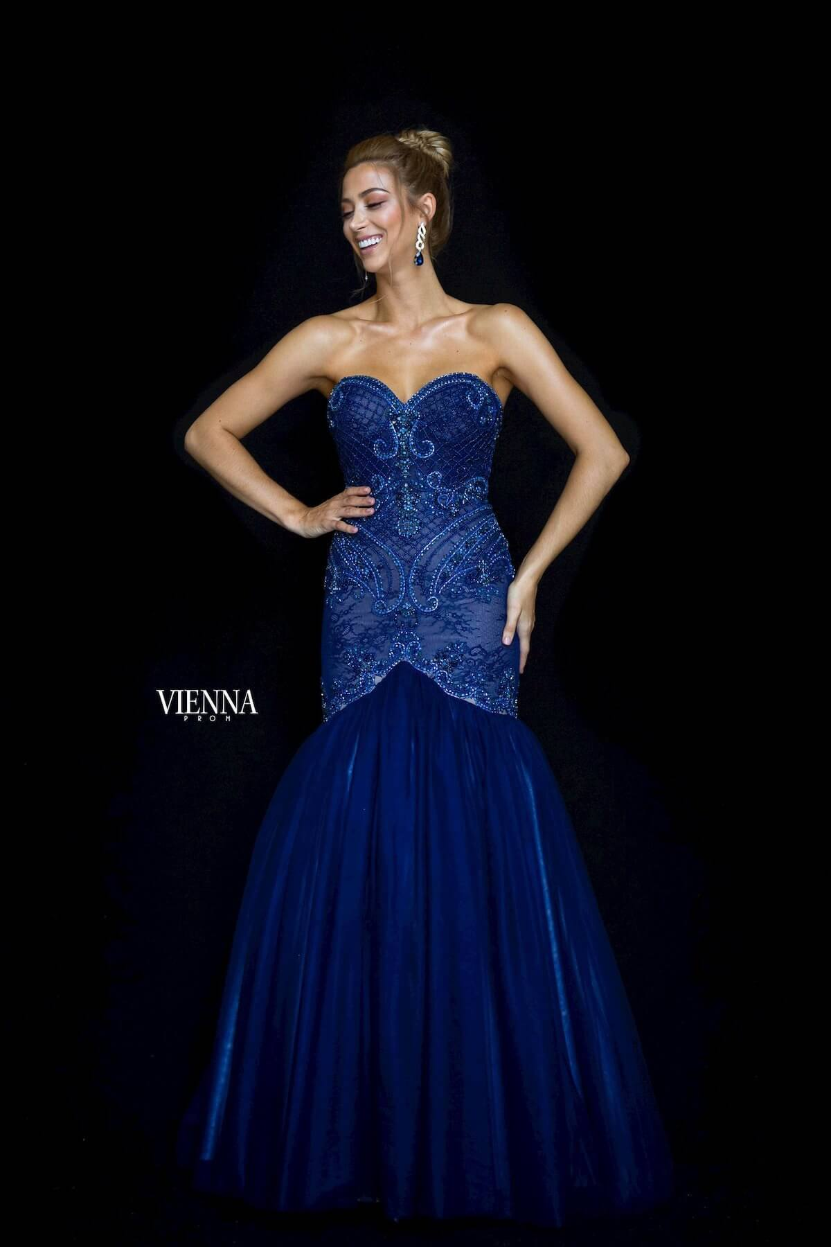 Style 82005 Vienna Royal Blue Size 6 Jewelled Prom Tulle Mermaid Dress on Queenly