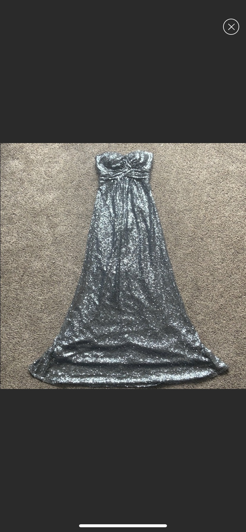 Christina Wu Silver Size 0 Jewelled Straight Dress on Queenly