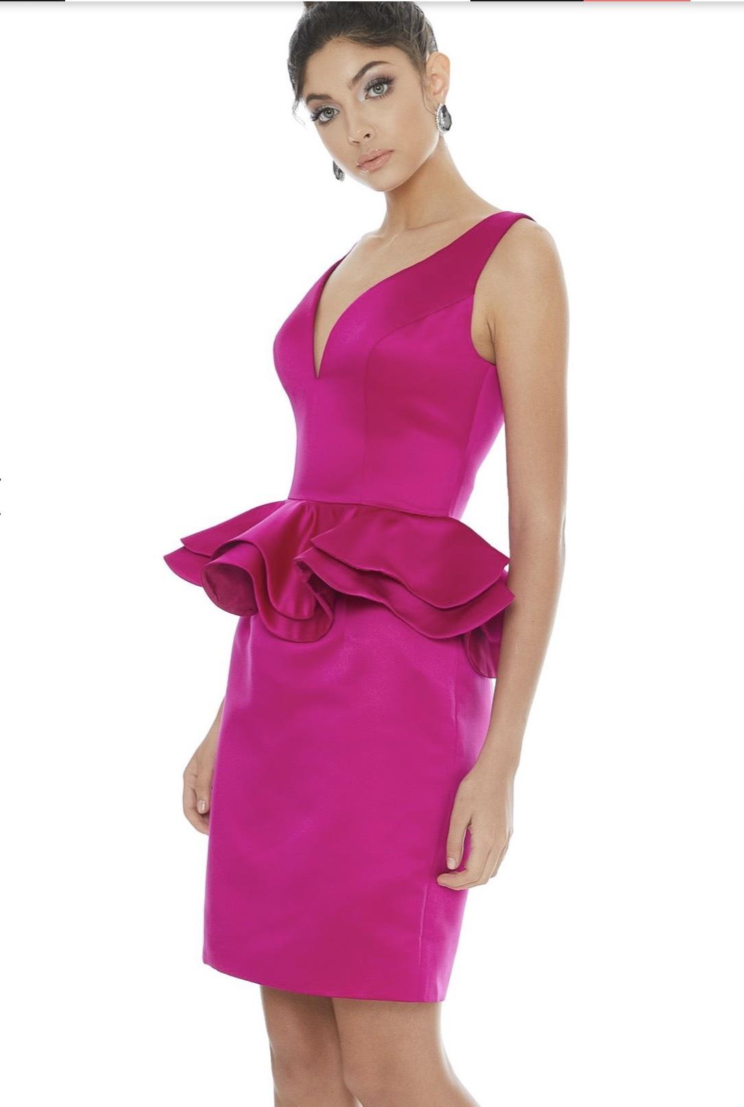 Ashley Lauren Hot Pink Size 8 Plunge Interview Cocktail Dress on Queenly