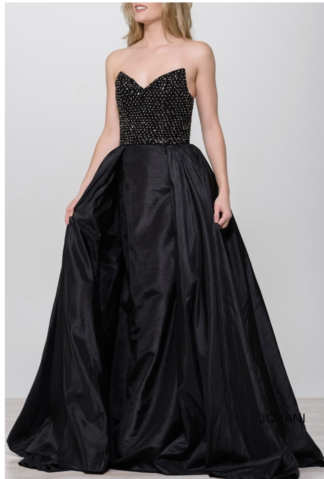 Jovani Black Size 0 Strapless Overskirt Sequin A-line Dress on Queenly