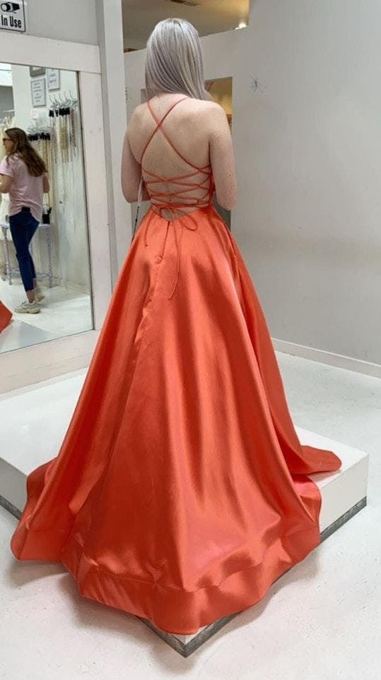 Sherri Hill Orange Size 4 Pink Peach Ball gown on Queenly