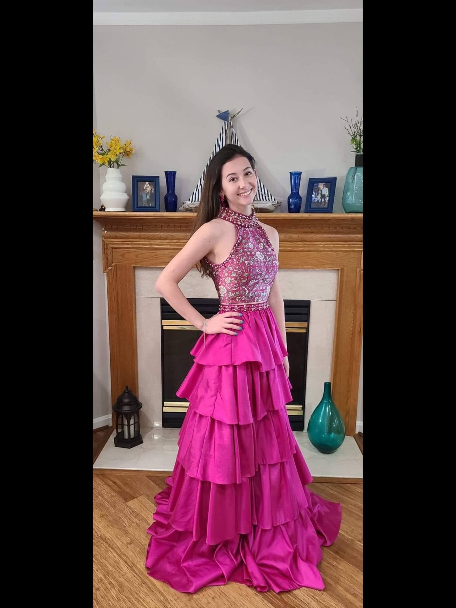 Sherri Hill Hot Pink Size 0 Halter Ball gown on Queenly