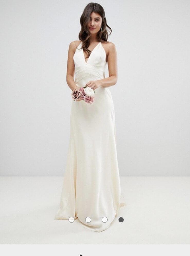 ASOS White Size 14 Plunge Silk Train Dress on Queenly