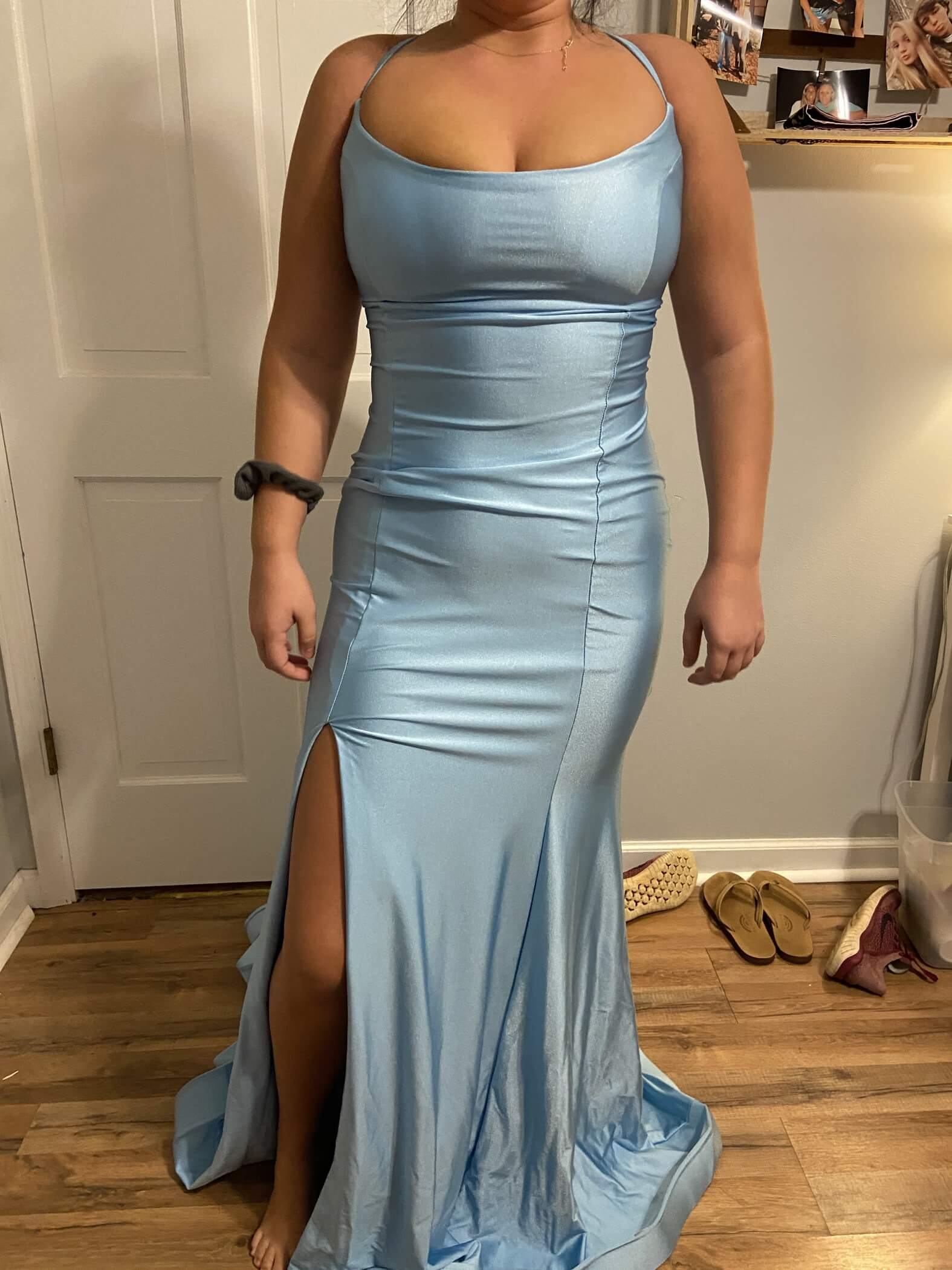 Jessica Angel Blue Size 4 Peach Side slit Dress on Queenly