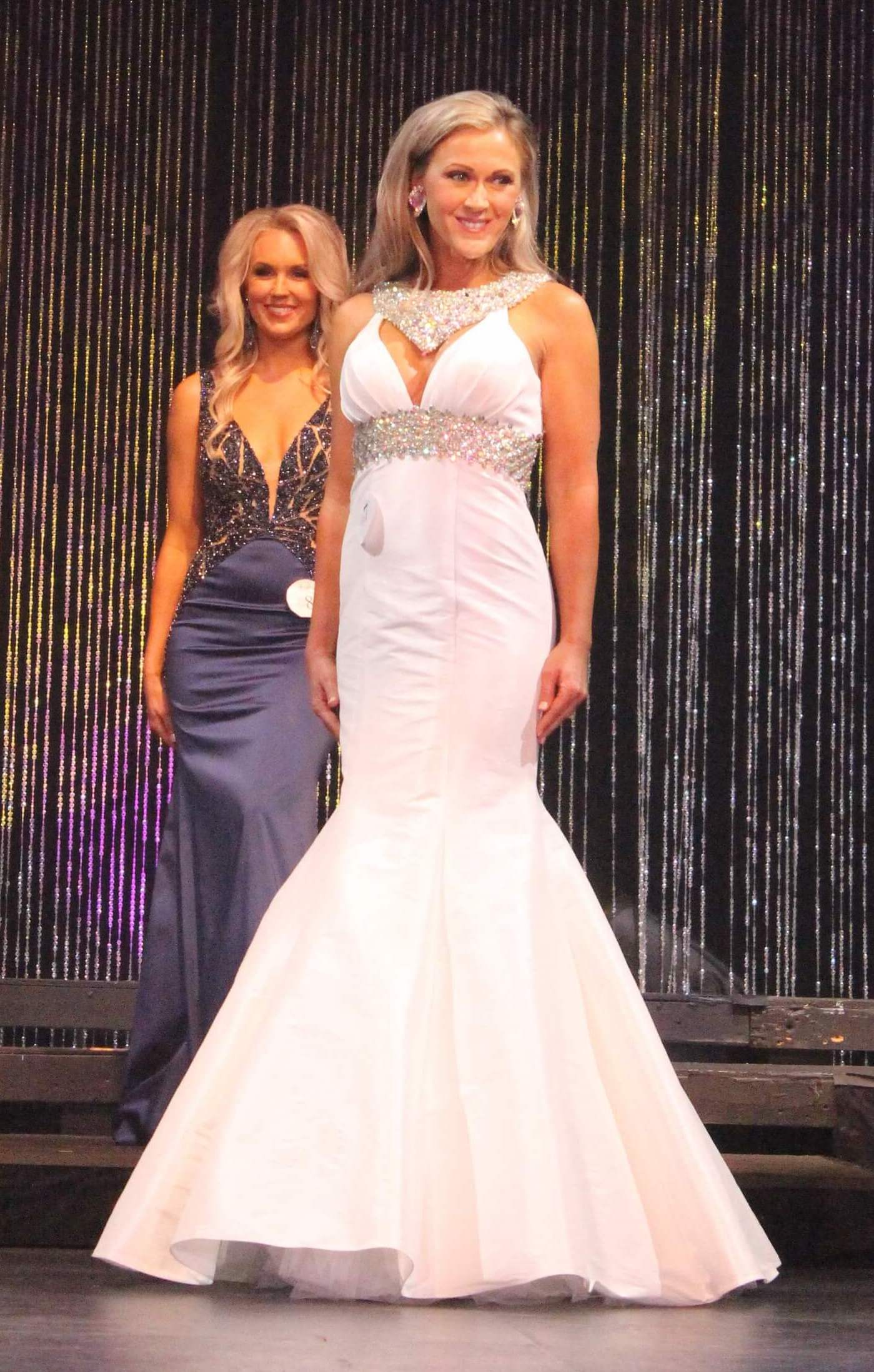 Ritzee White Size 2 Jewelled Pageant Halter Mermaid Dress on Queenly