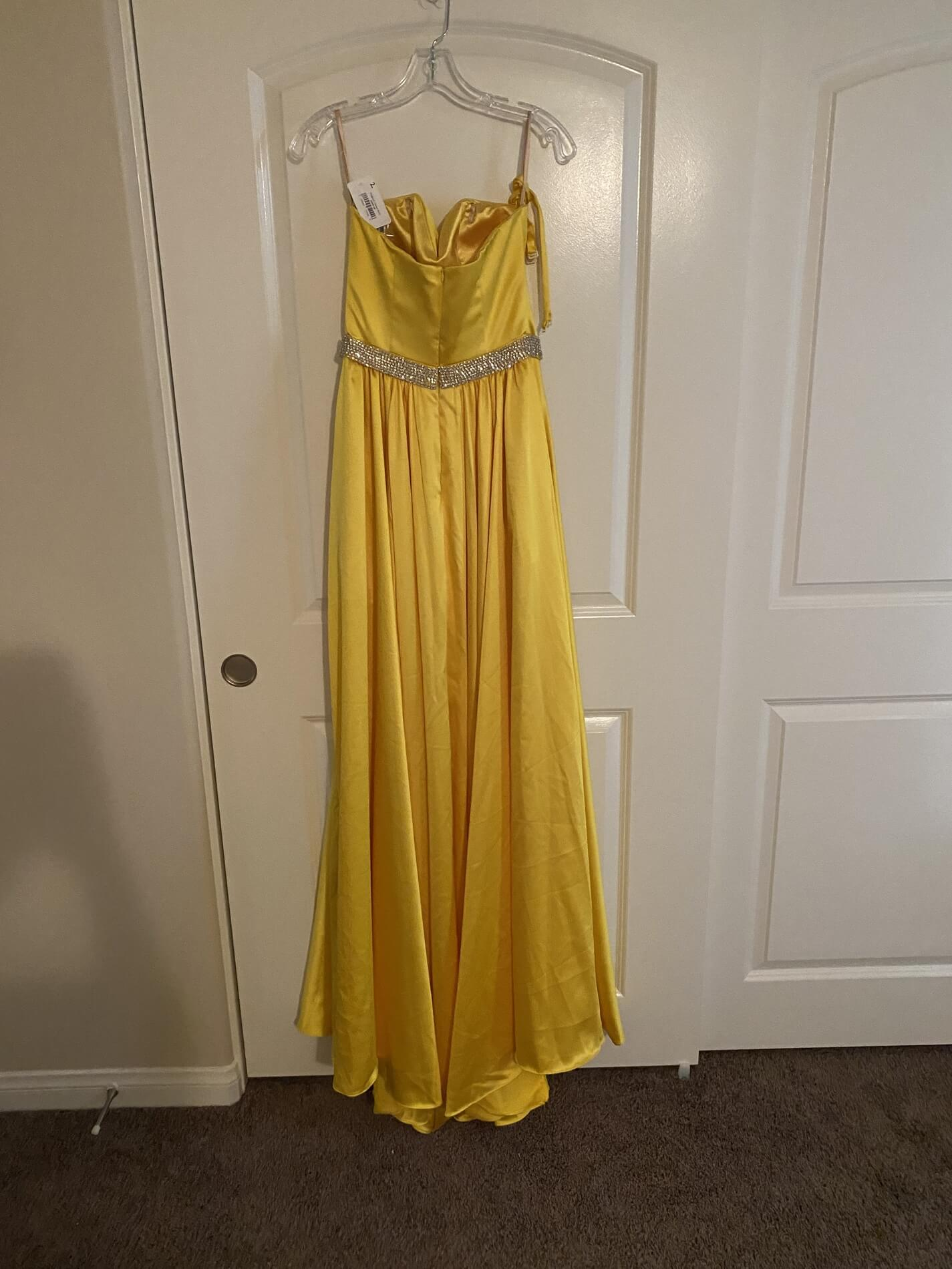 Jovani Yellow Size 2 Overskirt Pockets Fun Fashion A-line Dress on Queenly