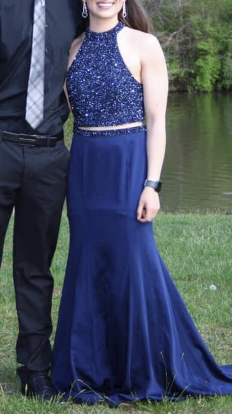 Blush Blue Size 2 Prom Jewelled A-line Dress on Queenly