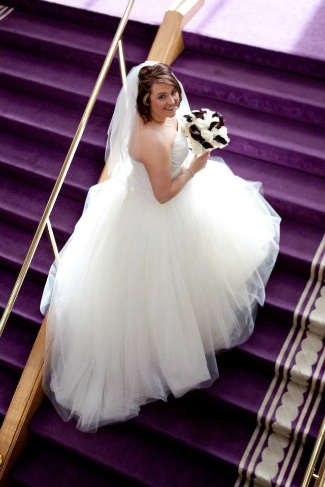 Vera Wang White Size 16 Wedding Tulle Ball gown on Queenly