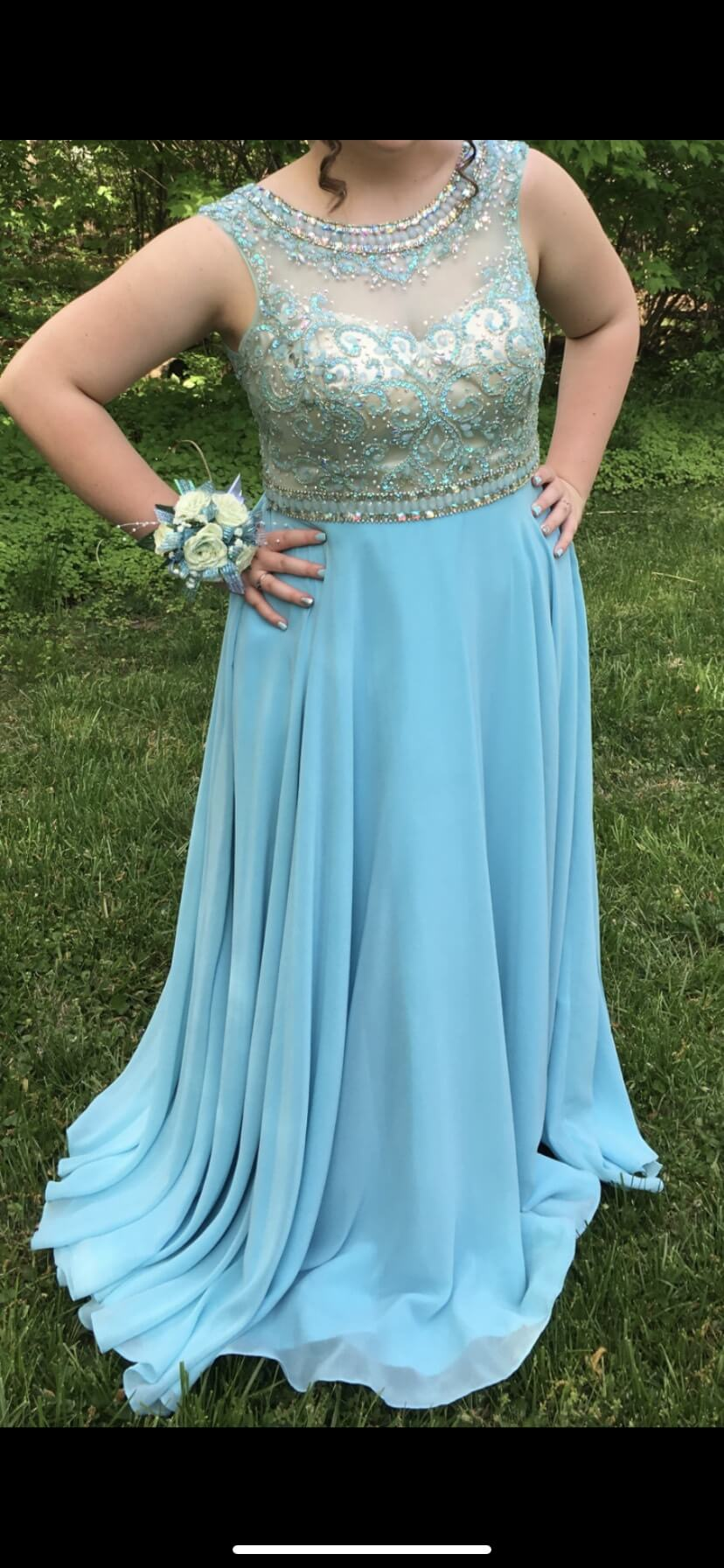 Alyce Paris Light Blue Size 16 Prom Jewelled A-line Dress on Queenly