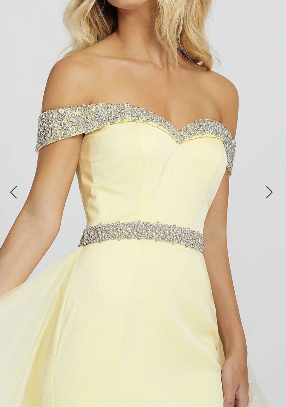 Mac Duggal Yellow Size 8 Pageant Tall Height Fitted Ball gown on Queenly