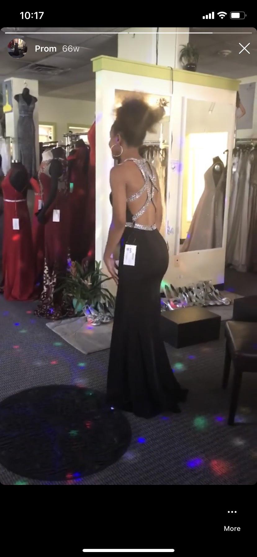 Colors dresses Black Size 00 Prom Keyhole Belt Halter Mermaid Dress on Queenly