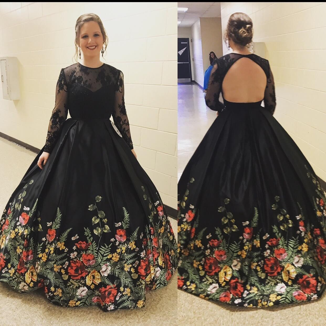 Sherri Hill Black Size 8 Floral Prom Ball gown on Queenly
