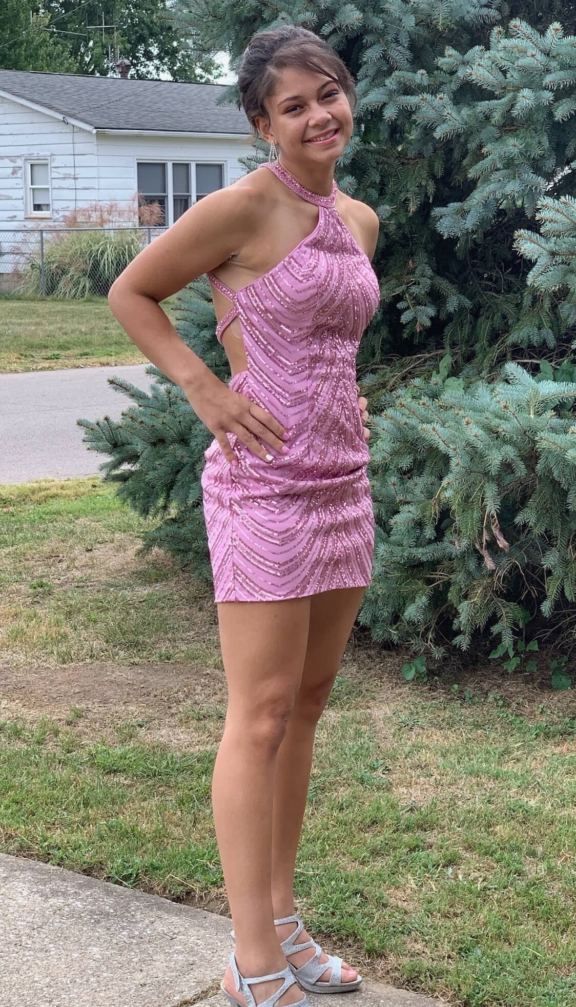 Splash Pink Size 4 Homecoming Mini Halter Straight Dress on Queenly