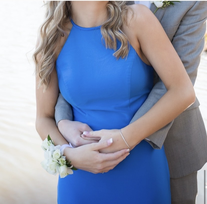 Sherri Hill Blue Size 6 Prom Halter Train Mermaid Dress on Queenly