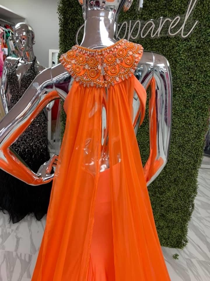 Orange Size 4 Train Dress on Queenly