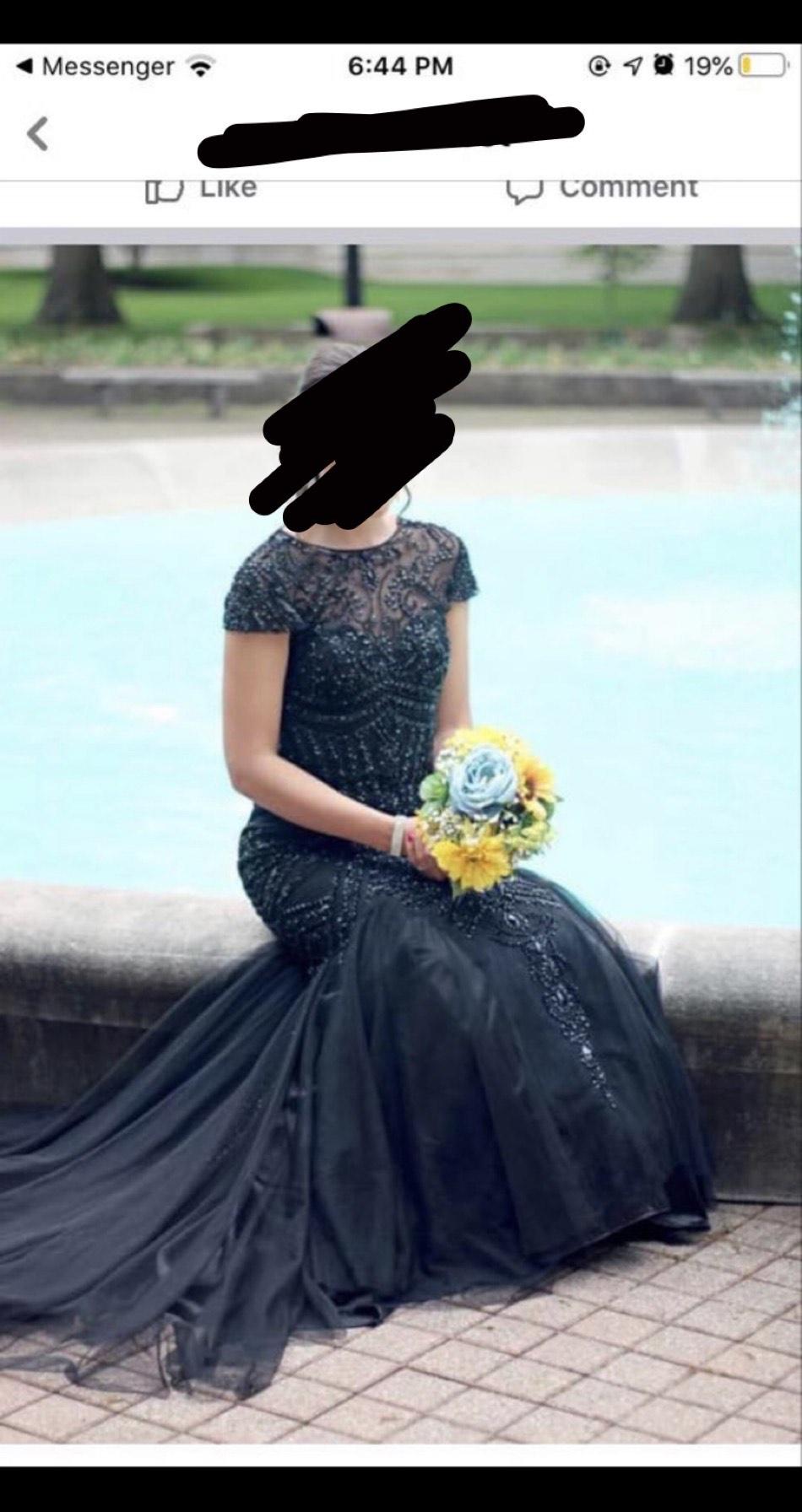 Sherri Hill Black Size 4 Prom Train Mermaid Dress on Queenly