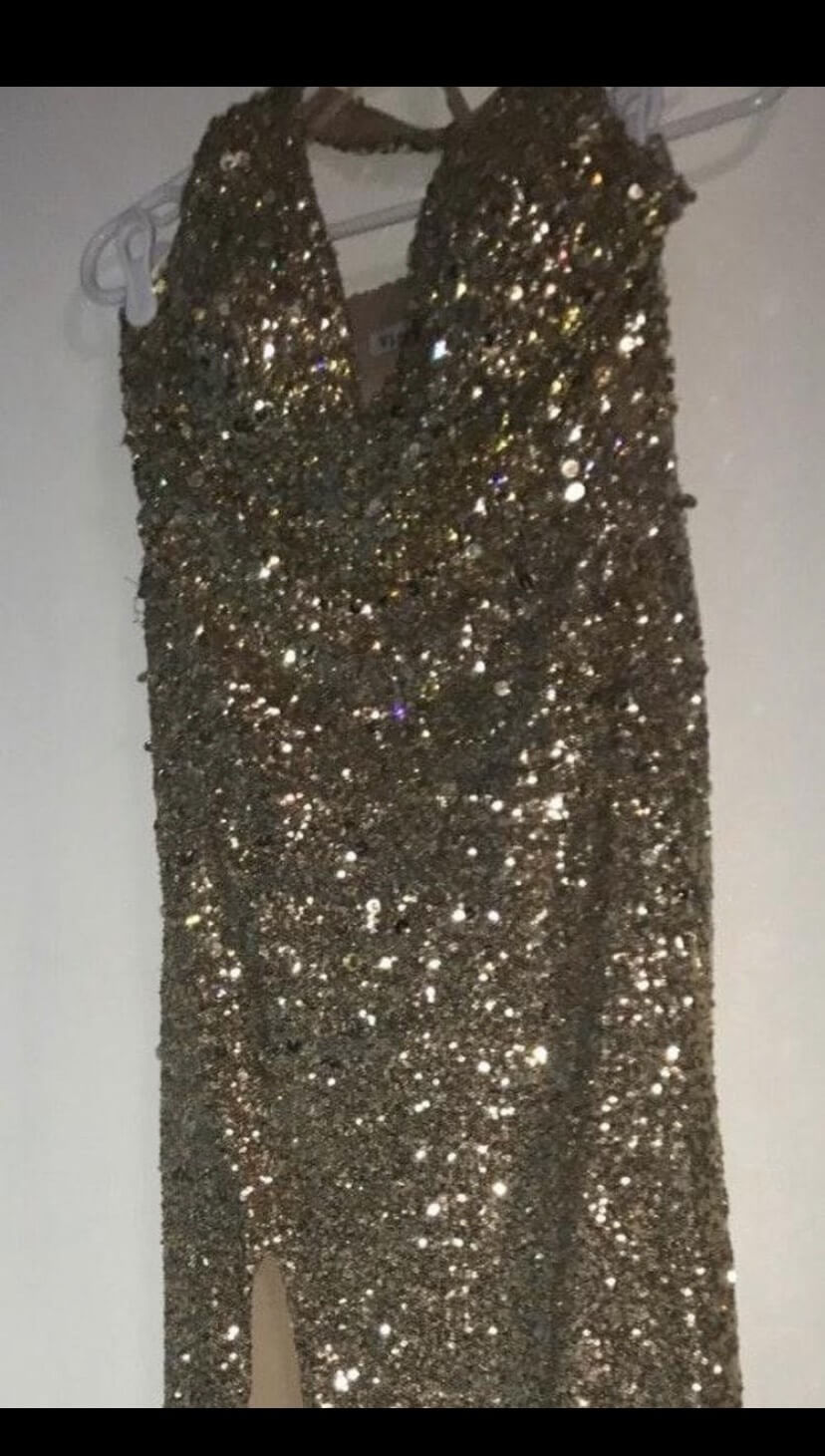 Gold Size 4 Side slit Dress on Queenly