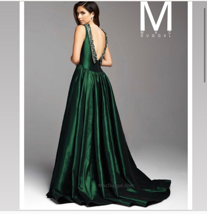 Mac Duggal Green Size 12 Backless Train Dress on Queenly