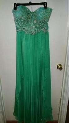 Sherri Hill Green Size 18 Prom Sweetheart Ball gown on Queenly
