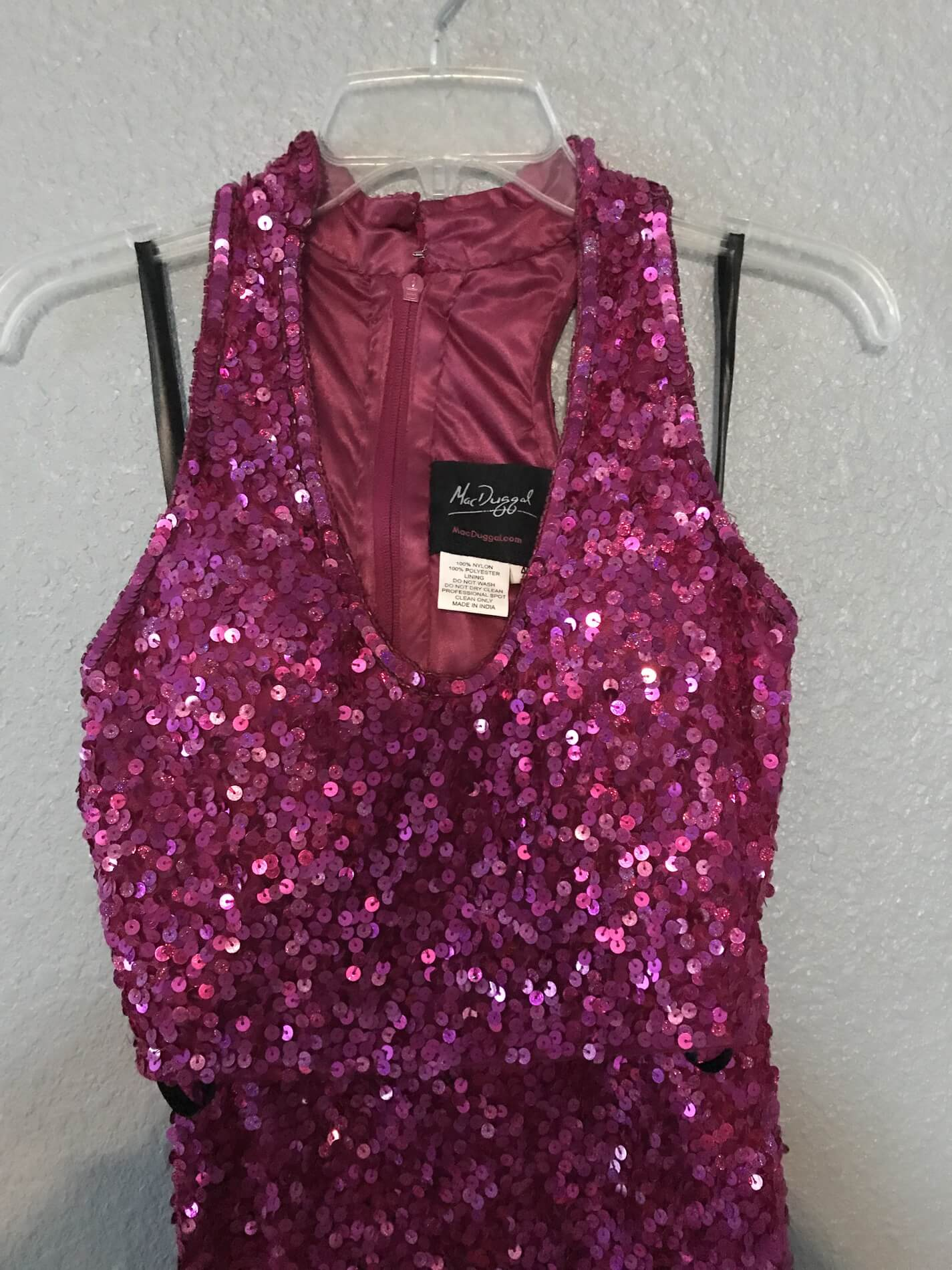 Mac Duggal Pink Size 4 Side Slit Sequin Straight Dress on Queenly