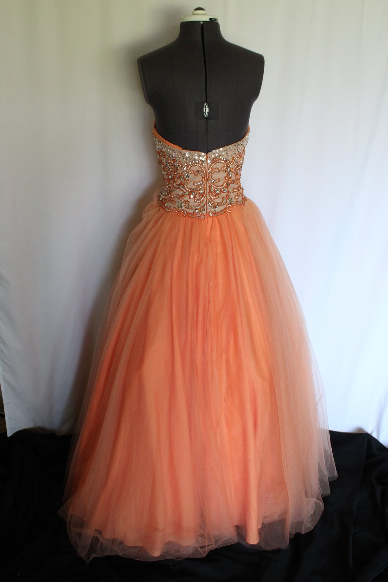 Terani couture Orange Size 2 Strapless Ball gown on Queenly