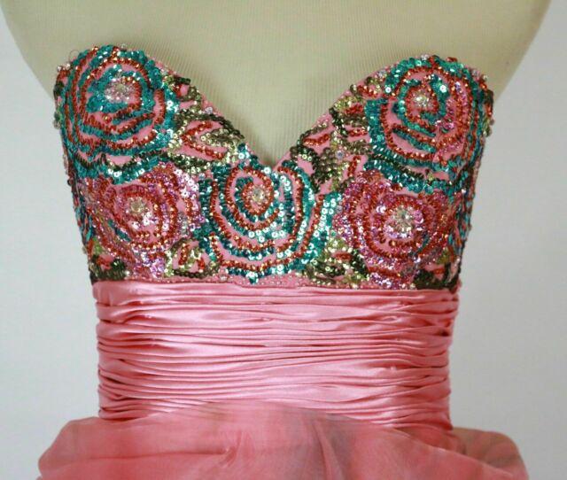 Jovani Multicolor Size 4 Strapless Fun Fashion Train Dress on Queenly