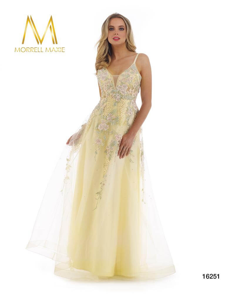 Style 16251 Morrell Maxie Yellow Size 12 Backless Corset Sheer Lace A-line Dress on Queenly