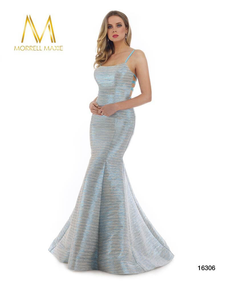 Style 16306 Morrell Maxie Blue Size 6 Pageant Green Tall Height Mermaid Dress on Queenly