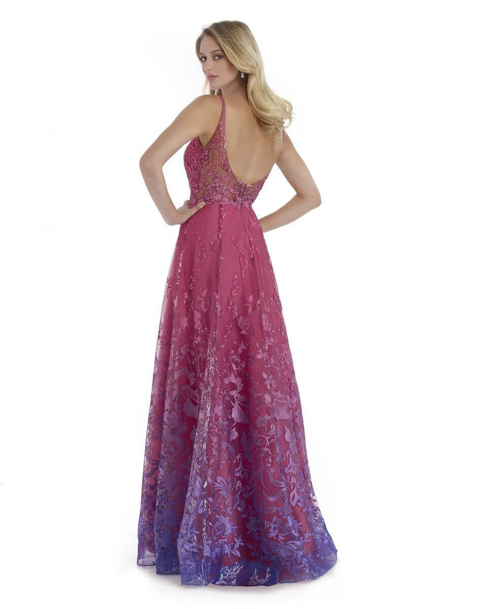 Style 16092 Morrell Maxie Pink Size 4 Purple Tall Height Sheer Lace A-line Dress on Queenly