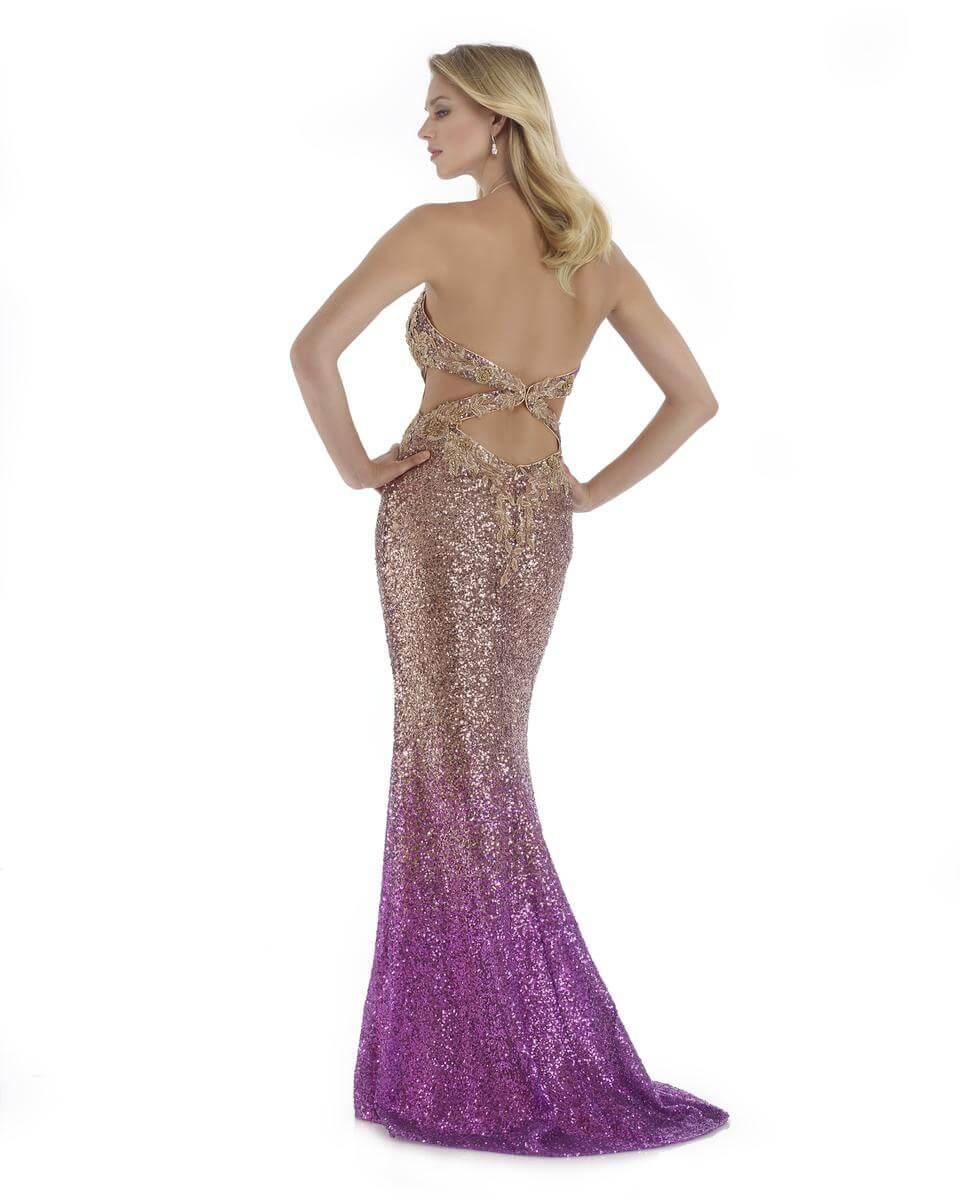 Style 16086 Morrell Maxie Gold Size 10 Halter Backless Tall Height Pink Mermaid Dress on Queenly