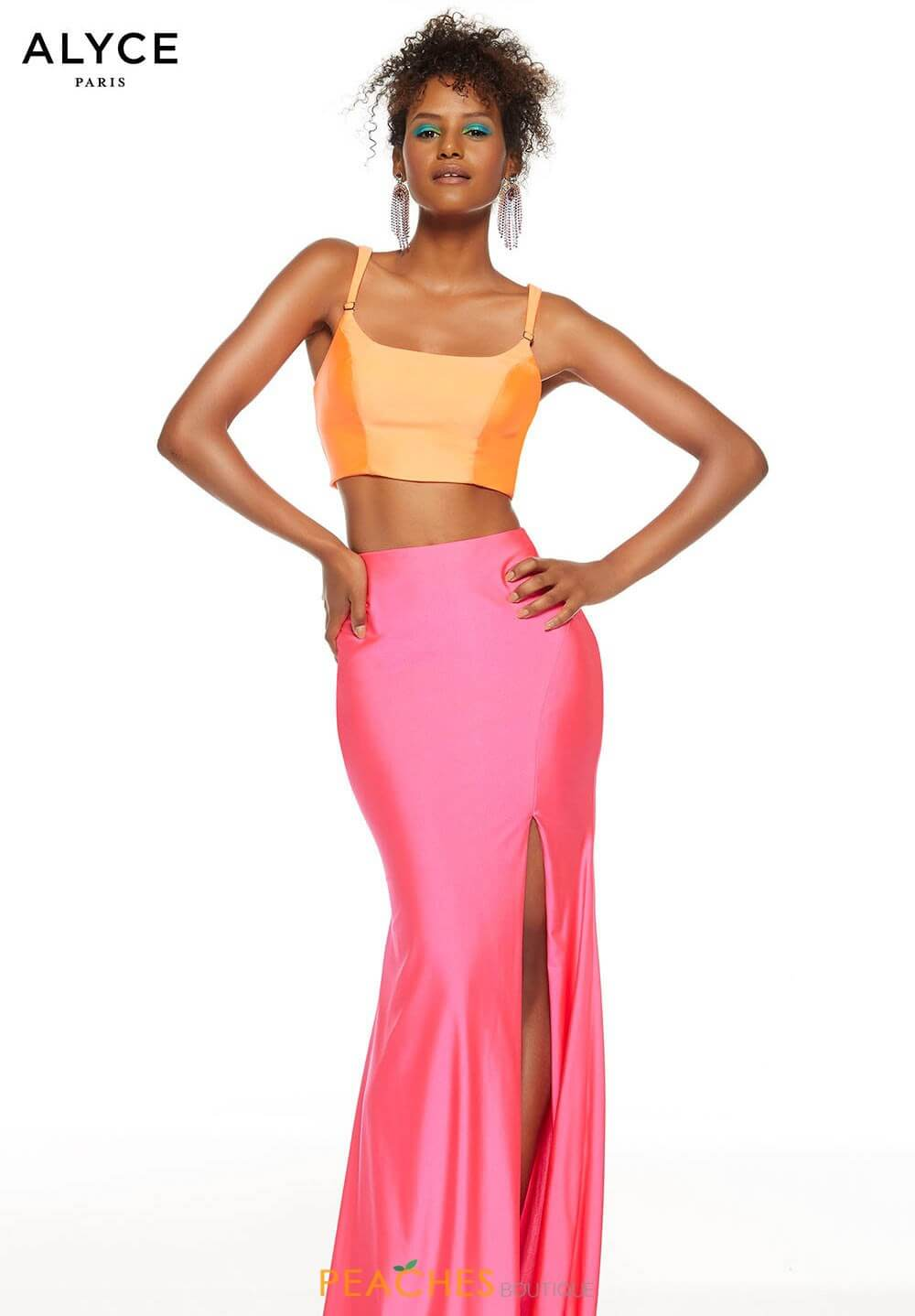 Style 60829 Alyce Paris Orange Size 4 Jersey Hot Pink Cut Out Two Piece Side slit Dress on Queenly