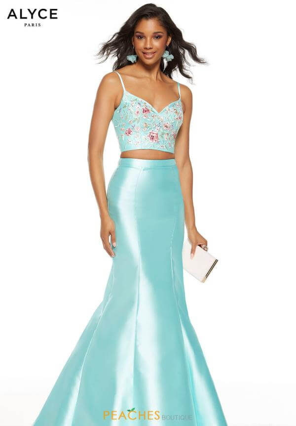 Style 60703 Alyce Paris Blue Size 10 Backless Tall Height Fitted Mermaid Dress on Queenly