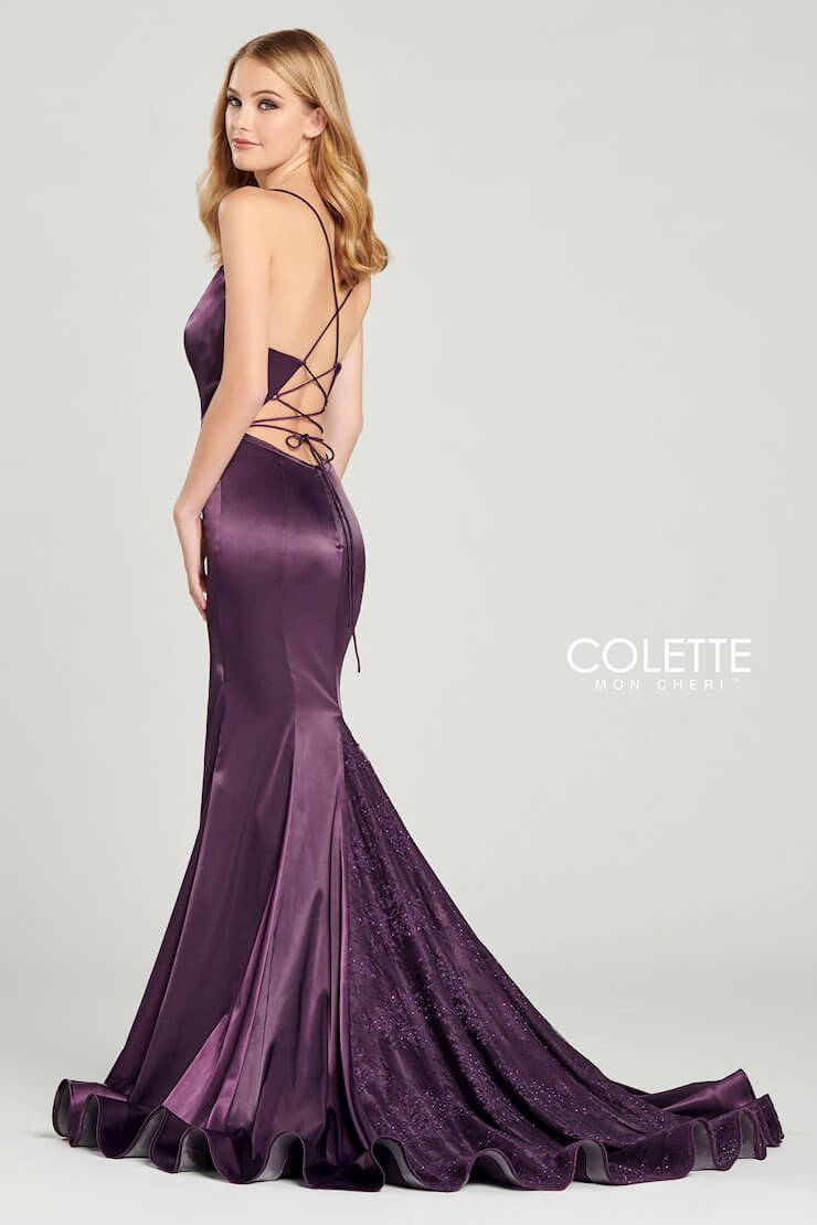 Style CL12030 Mon Cheri Purple Size 6 Train Tall Height Lace Side slit Dress on Queenly