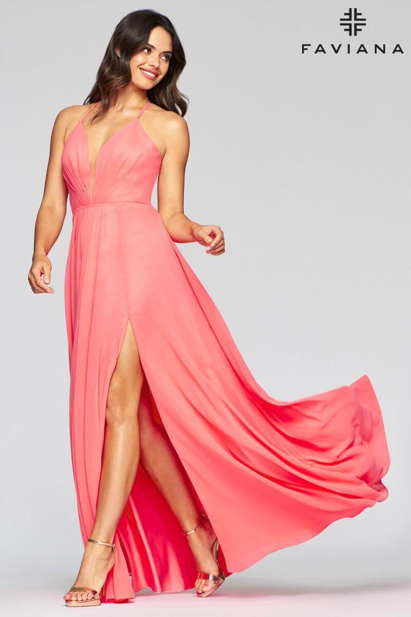 Style 7747 Faviana Pink Size 6 Tulle Tall Height V Neck Side slit Dress on Queenly