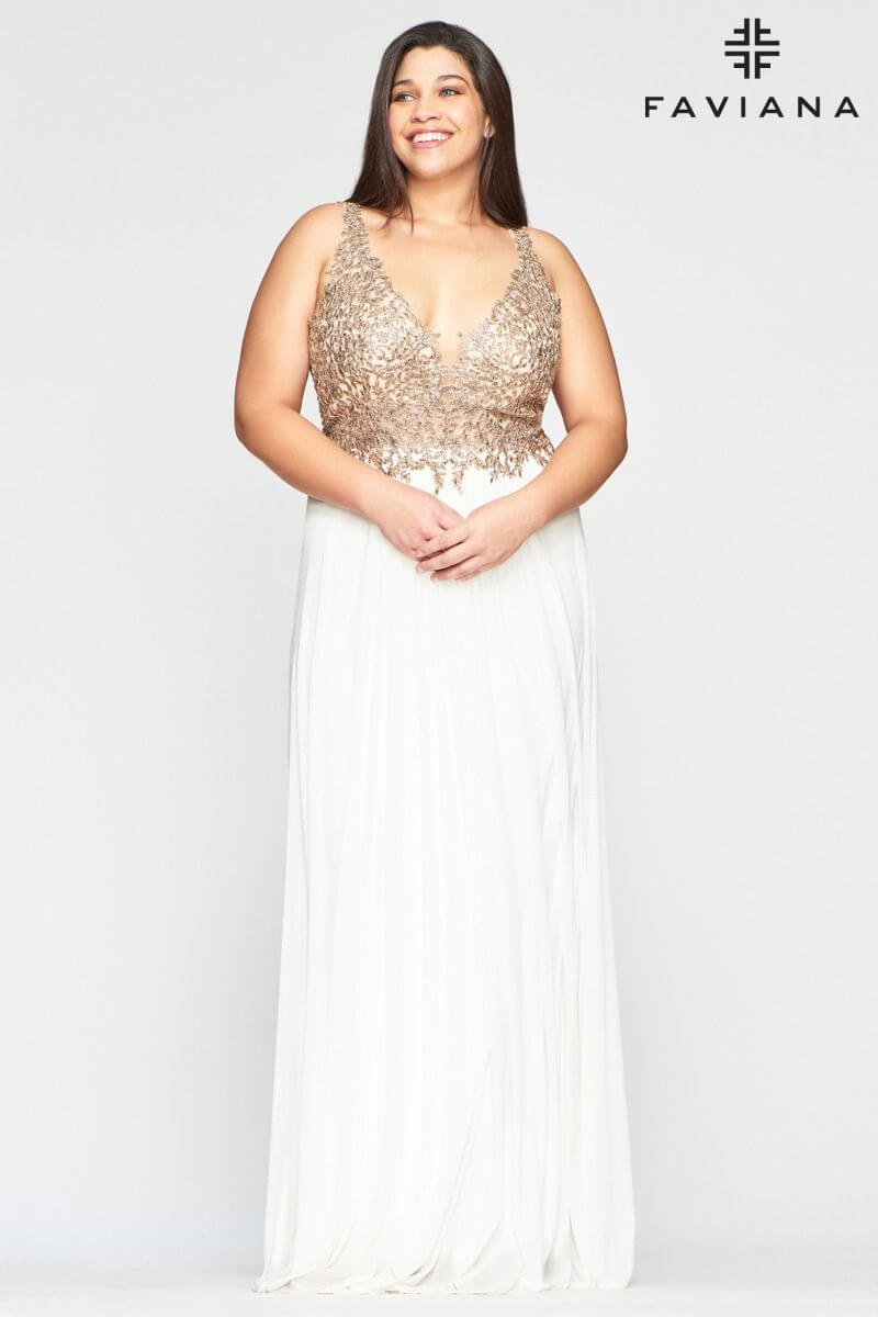 Style 9428 Faviana Gold Size 18 Sheer Tall Height V Neck Straight Dress on Queenly