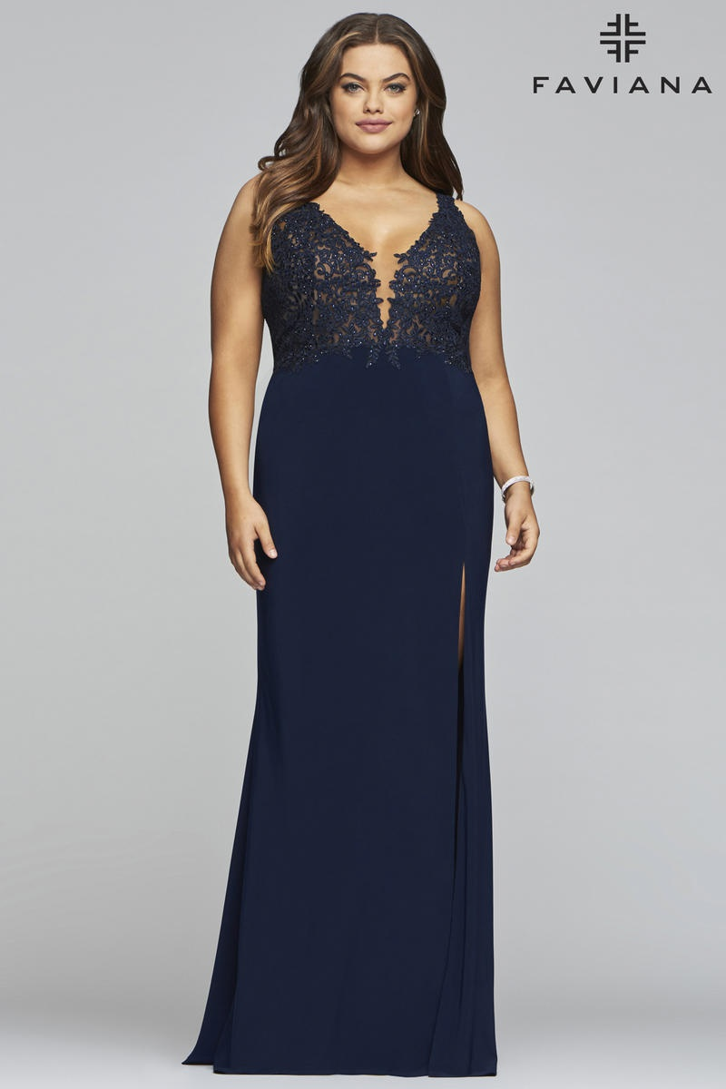 Style 9463 Faviana Blue Size 22 Plus Size Sheer Tall Height Side slit Dress on Queenly