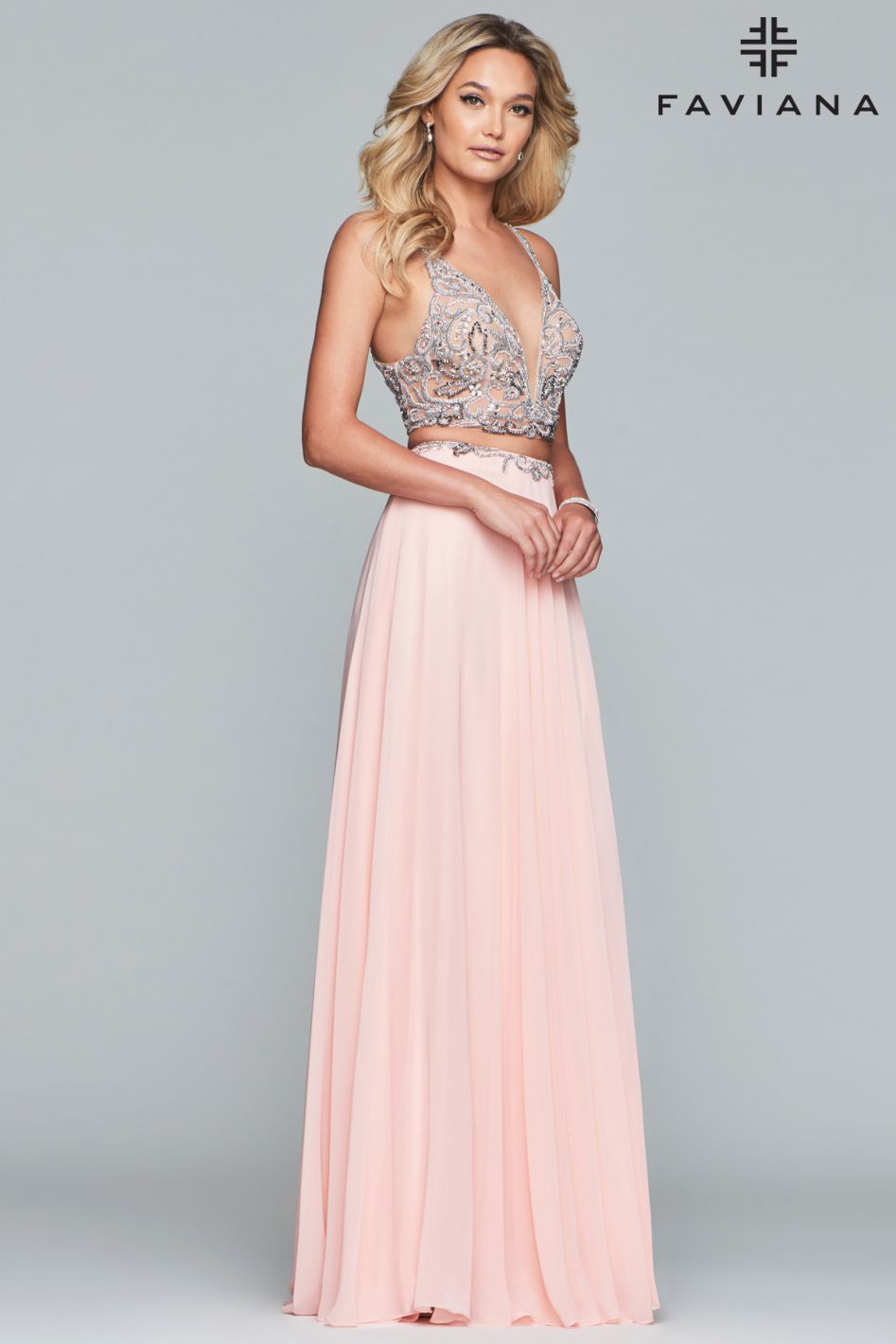 Style S10244 Faviana Pink Size 2 Tall Height V Neck Straight Dress on Queenly