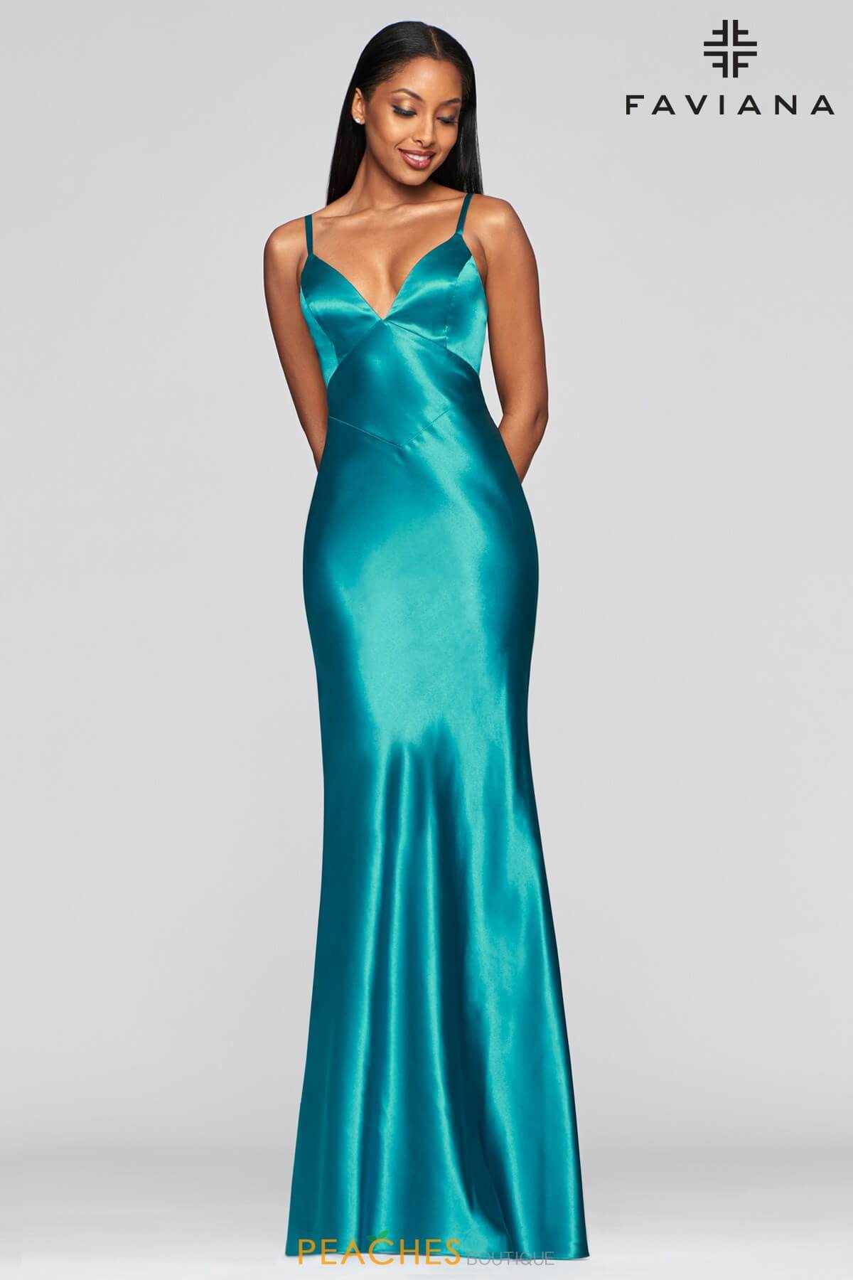 Style S10405 Faviana Green Size 8 Plunge Tall Height Mermaid Dress on Queenly