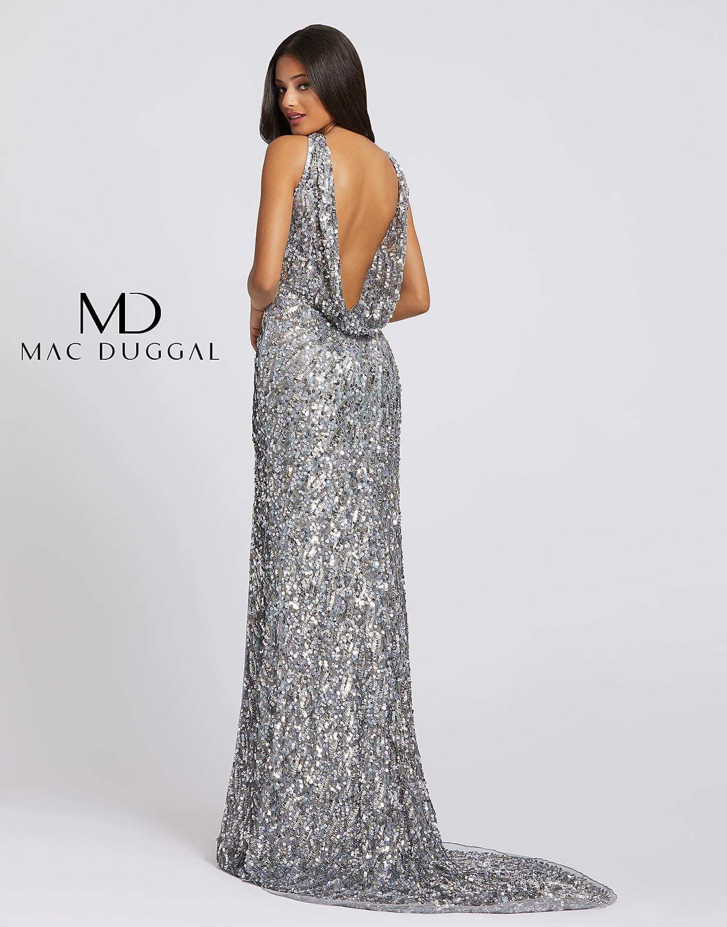 Style 3434A Mac Duggal Green Size 8 Tall Height Side slit Dress on Queenly