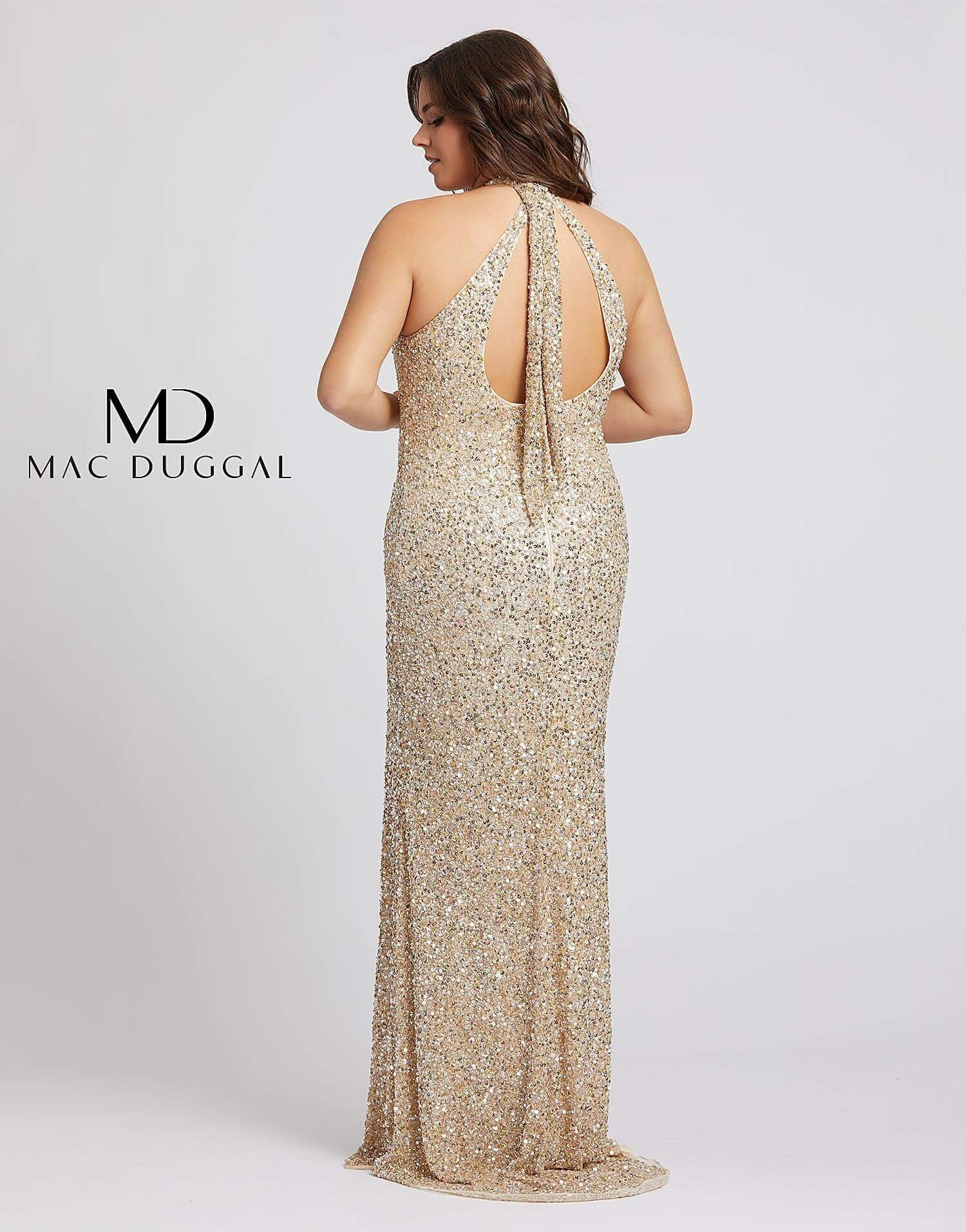 Style 4835 Mac Duggal Green Size 16 Halter Tall Height Side slit Dress on Queenly