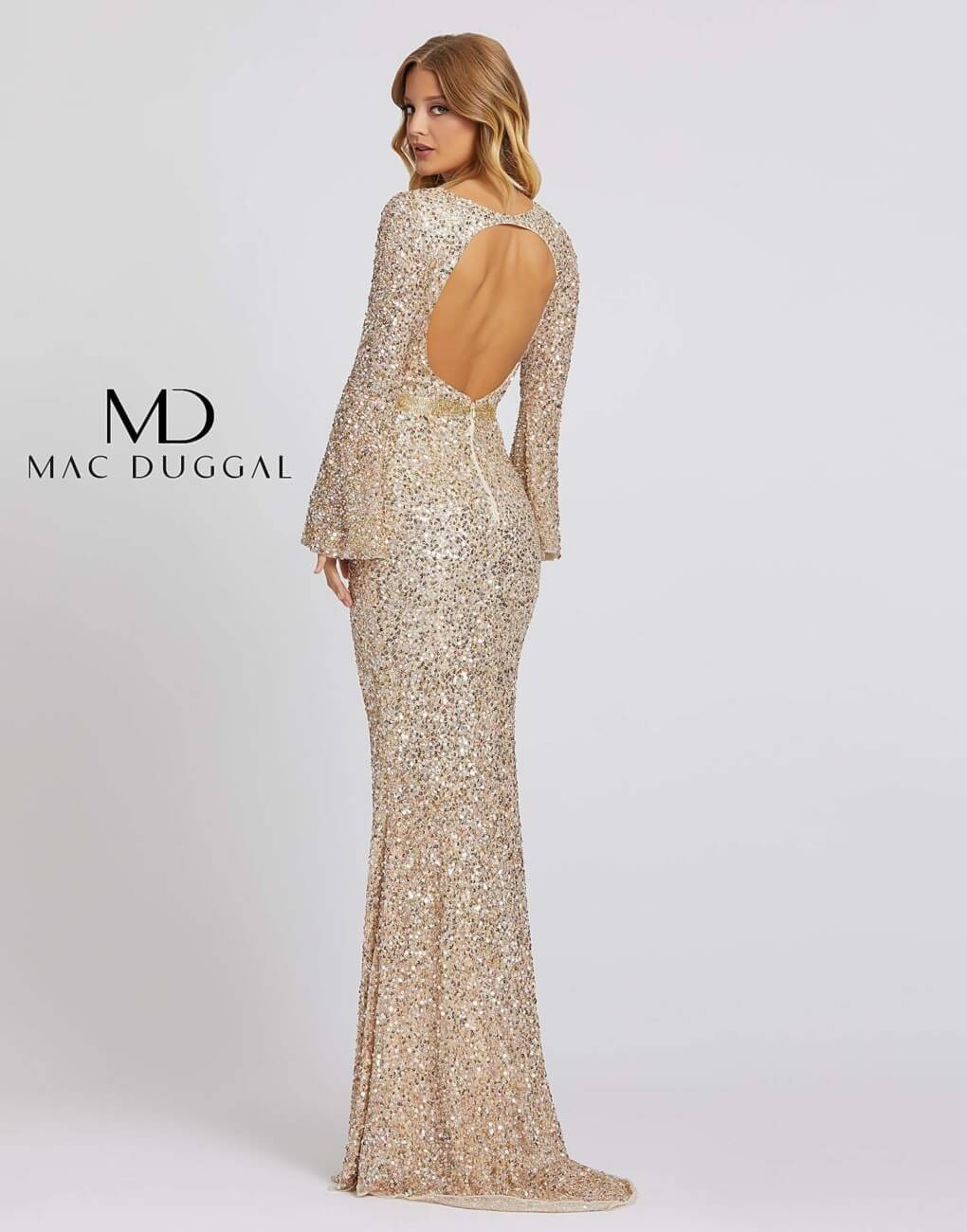 Style 5014A Mac Duggal Blue Size 8 Backless Tall Height Straight Dress on Queenly