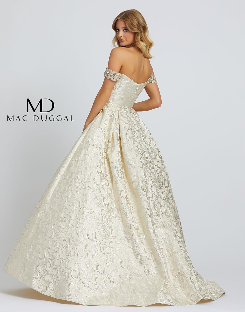 Style 67081H Mac Duggal Gold Size 14 Pageant Tall Height A-line Dress on Queenly