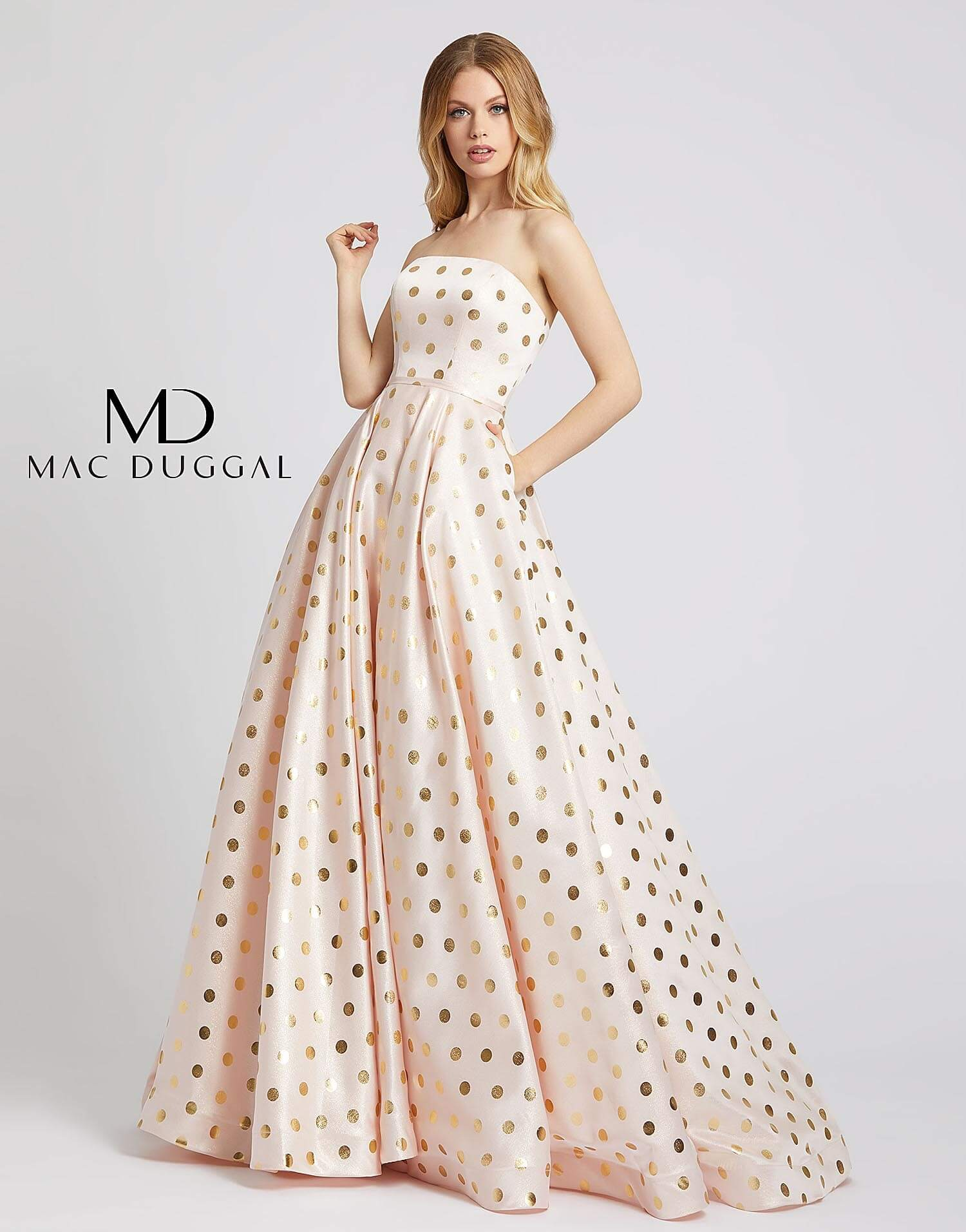 Style 67093L Mac Duggal Pink Size 12 Tall Height Ball gown on Queenly