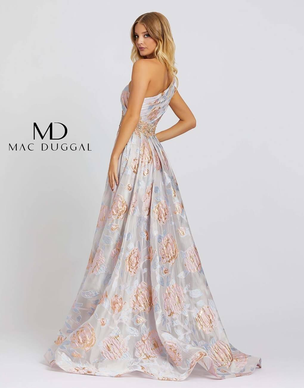 Style 67124M Mac Duggal Multicolor Size 6 One Shoulder Pageant Tall Height A-line Dress on Queenly