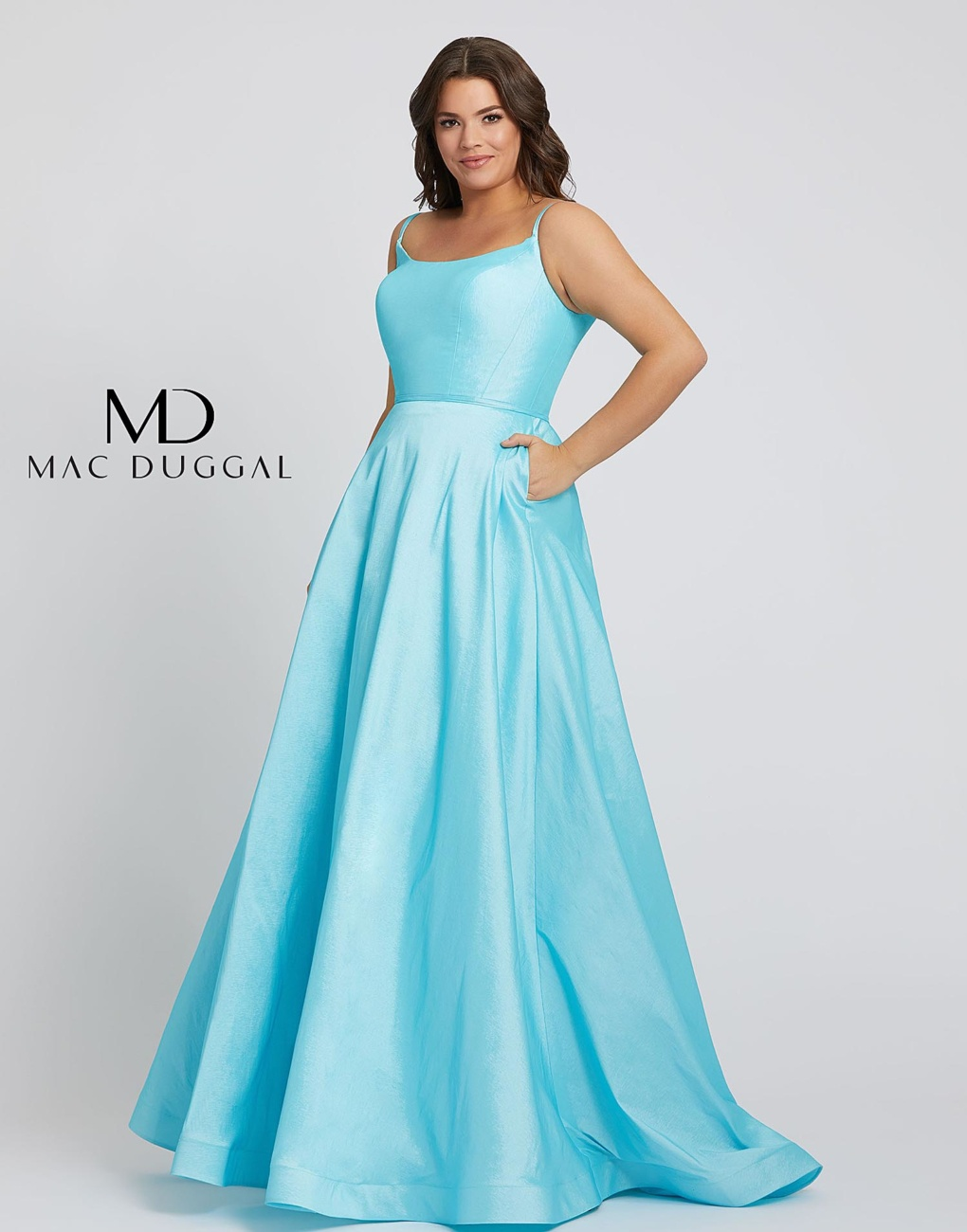 Style 67219F Mac Duggal Blue Size 24 Train Tall Height A-line Dress on Queenly