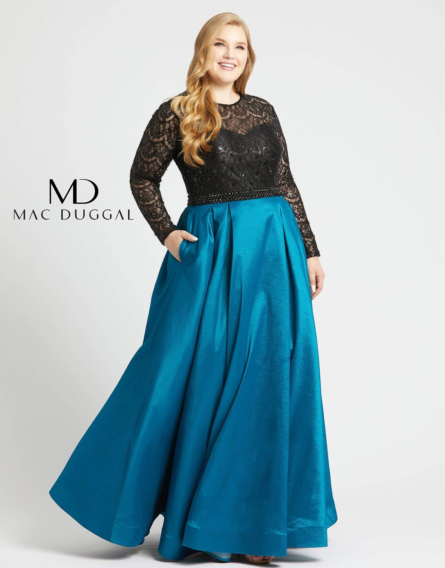 Style 77473F Mac Duggal Blue Size 20 Tall Height Lace Silk A-line Dress on Queenly
