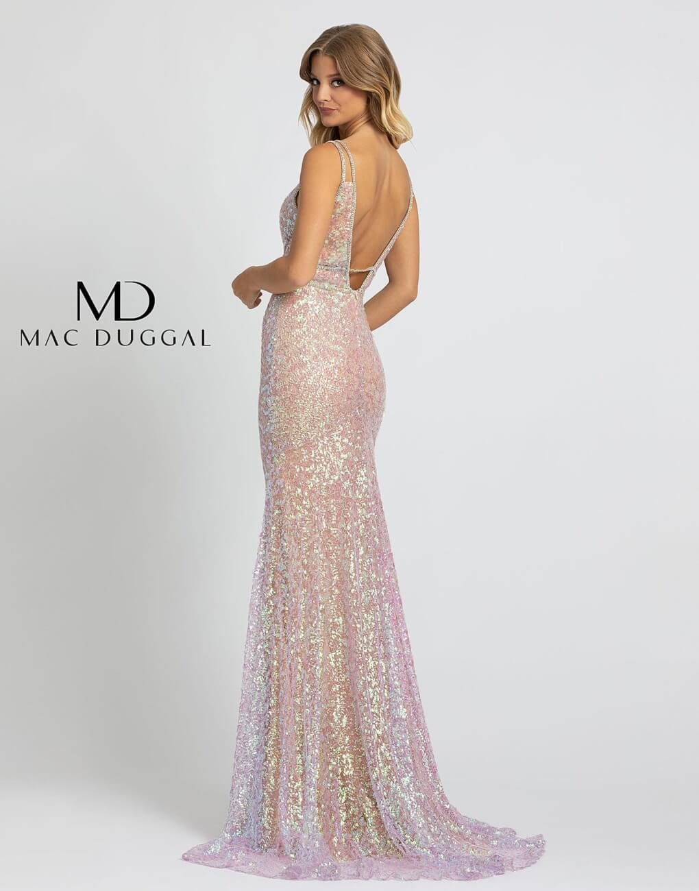 Style 77754A Mac Duggal Pink Size 2 Tall Height V Neck Straight Dress on Queenly