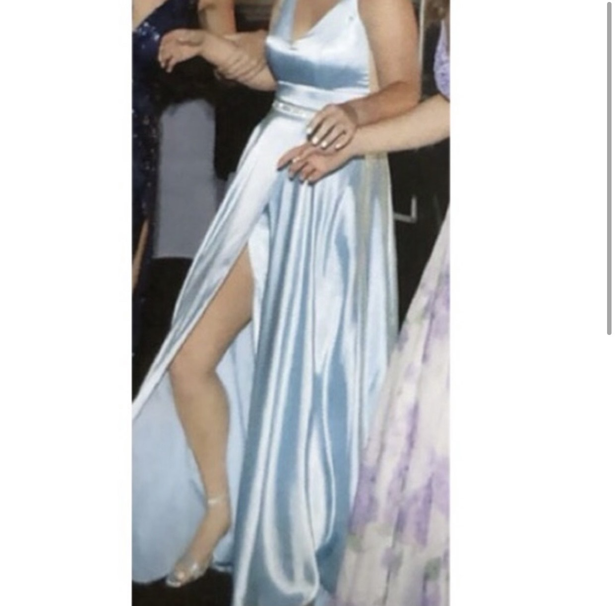 Sherri Hill Blue Size 6 Side Slit Belt A-line Dress on Queenly