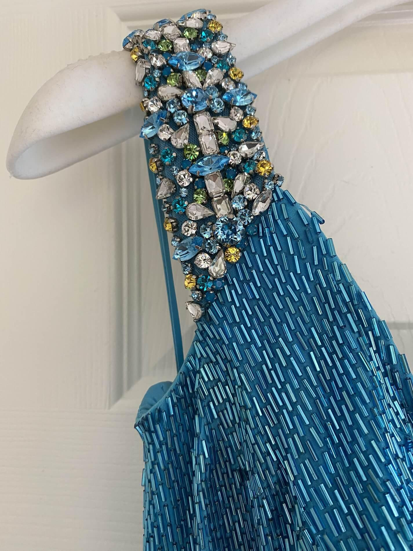 Jovani Blue Size 4 Ombre Pageant Liquid Beading Turquoise Straight Dress on Queenly